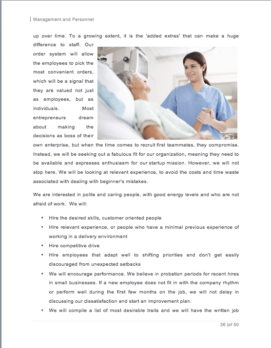 home health care business plan samples