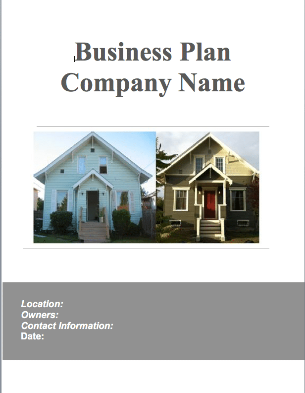 Real estate house flipping business plan sample pages Real estate house plans