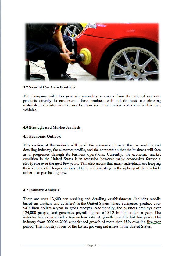 A Sample Mobile Auto Detailing Business Plan Template