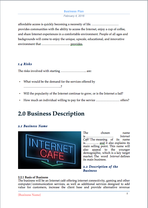 business plan internet