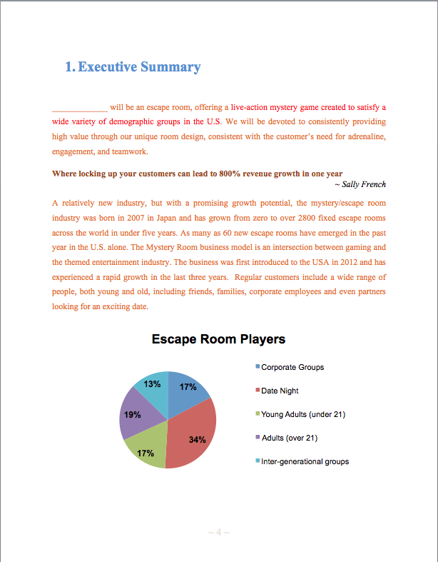 Escape room game business plan