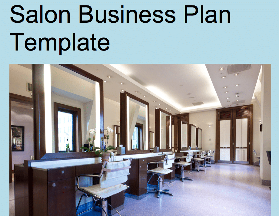 Salon business plan template black box business plans for Salon layout plans