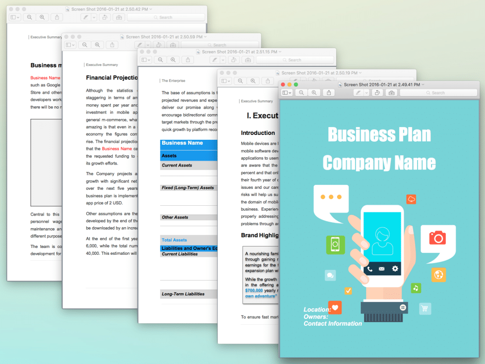 Mobile App Concept Business Plan Template Sample Pages - Black Box ...