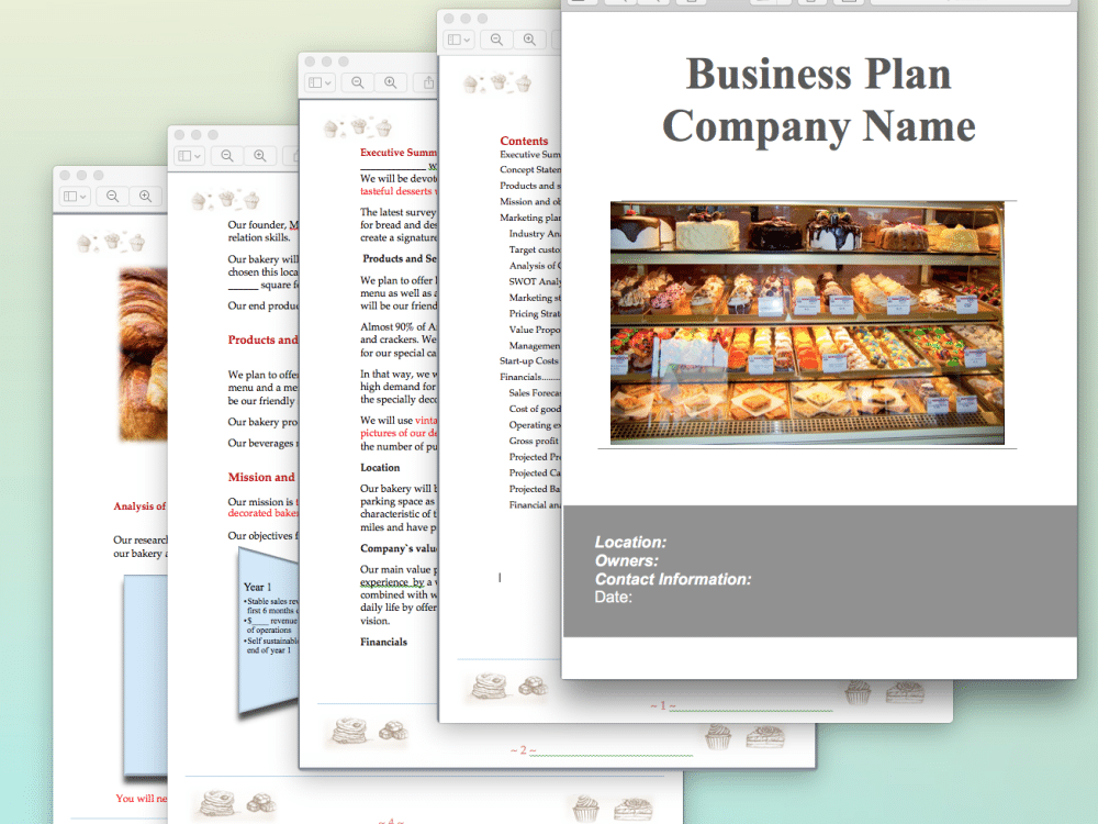 Home bakery business plan