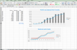 Mobile app financials in excel