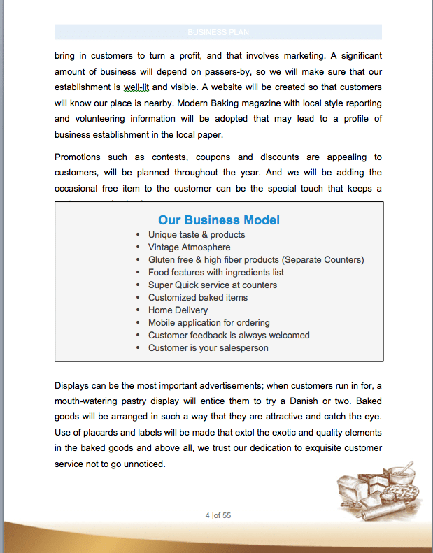 bakery business plan sample pages
