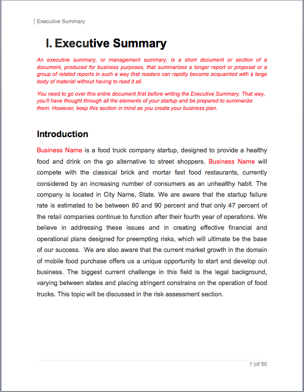 sample executive summary for business proposal
