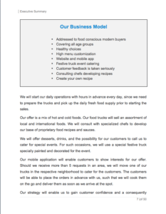 Food Truck Business Plan Example