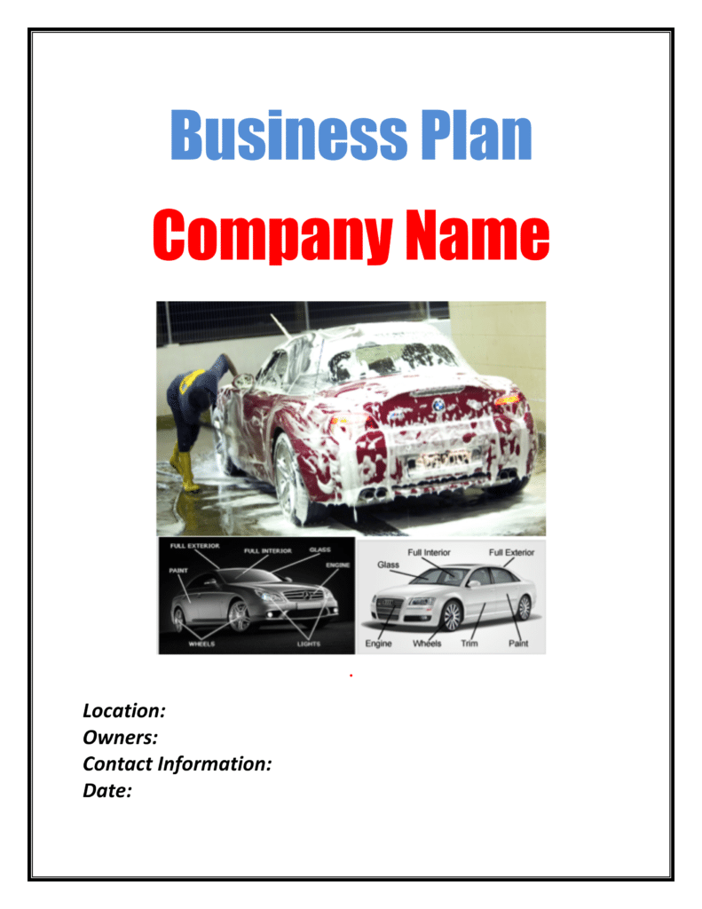 car wash business plan template plan sample pages