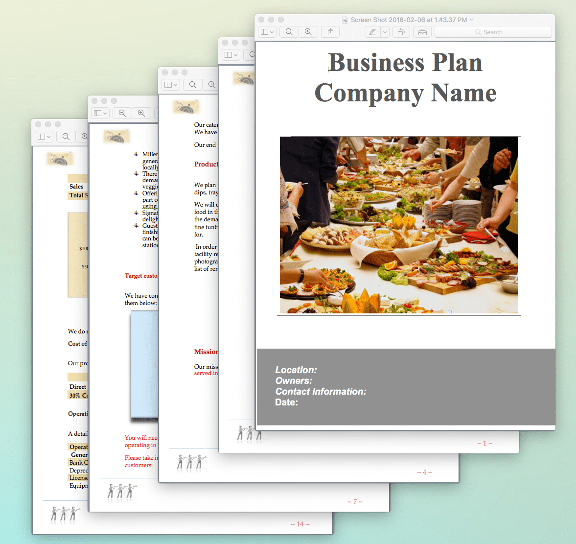 catering business plan template sample pages