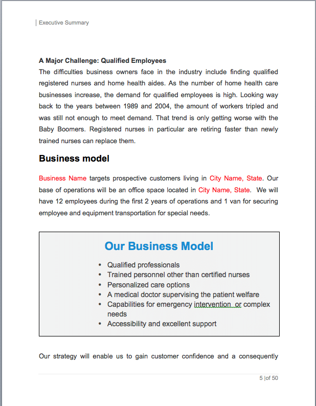 Home Health Care Business Plan Sample Pages Black Box