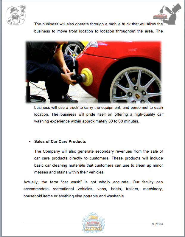 auto detail  car wash business plan sample pages