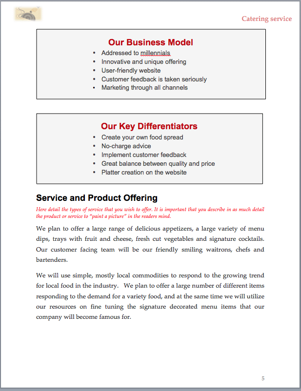 catering business plan example sample pages