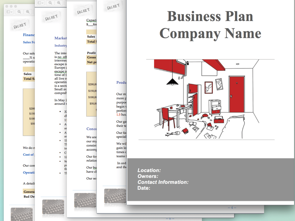 Escape room business plan template