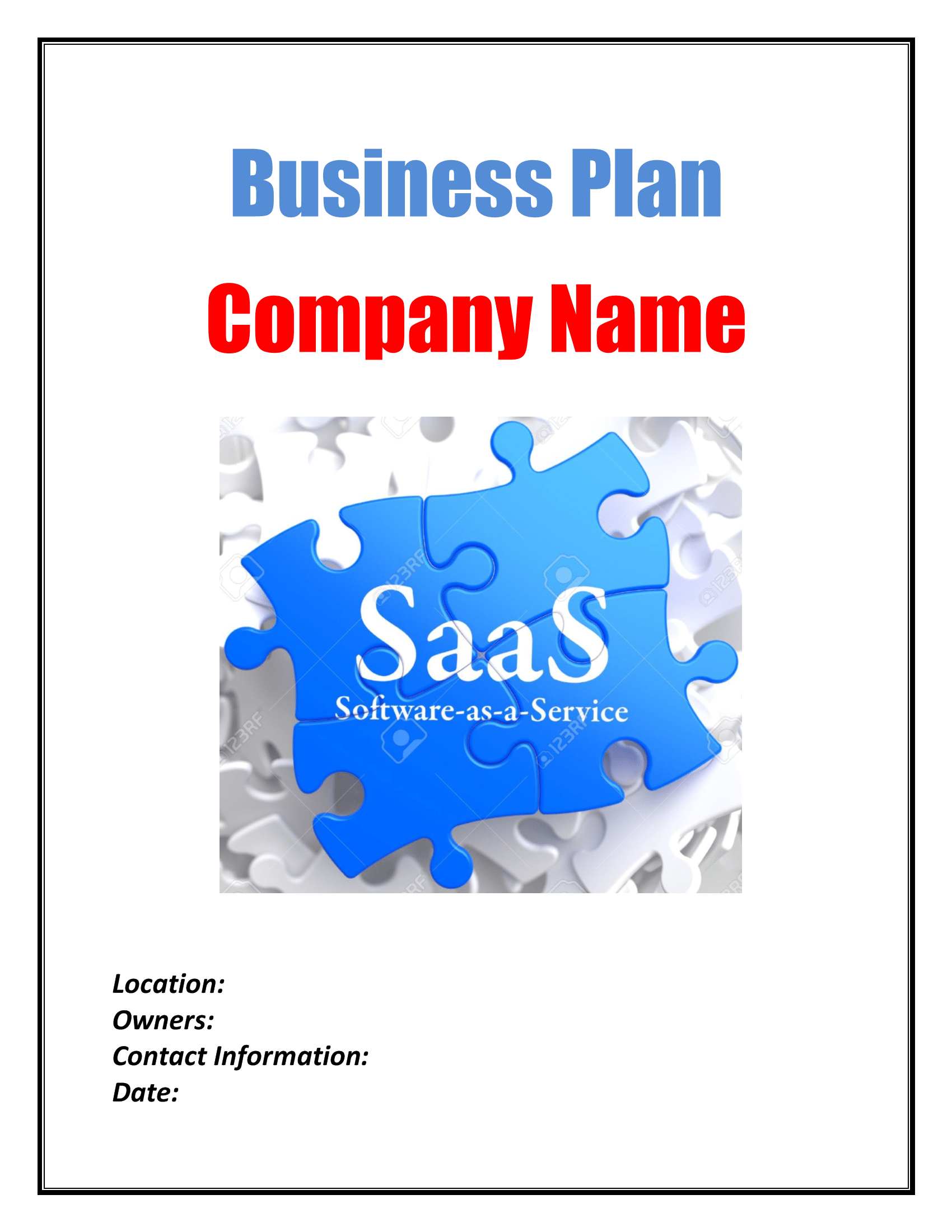 Software As A Service SaaS Business Plan Template Sample Pages - Business plan template software
