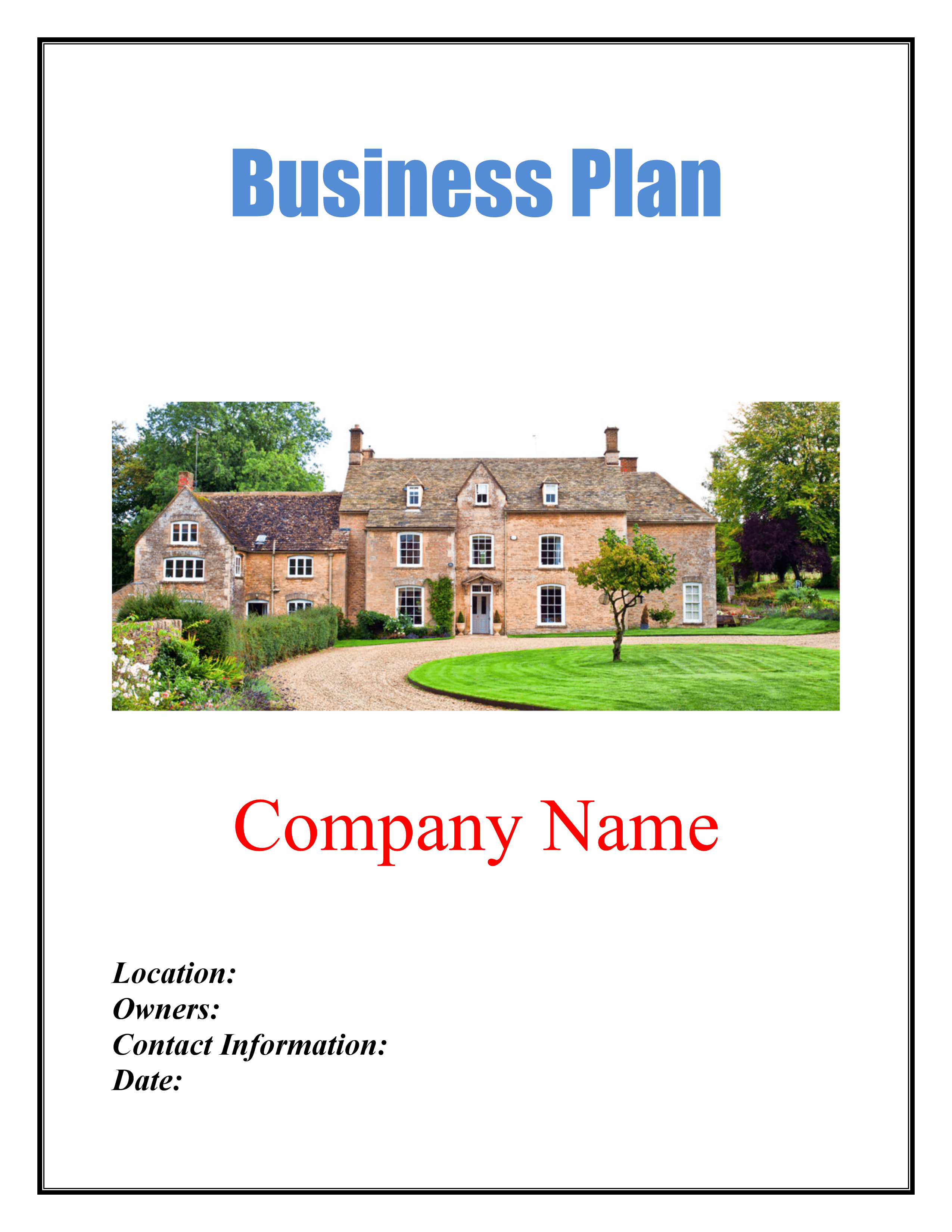 Bed And Breakfast Business Plan Template Sample Pages Black Box - Bed and breakfast business plan template