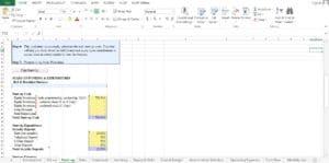 Bed and Breakfast Excel Worksheet
