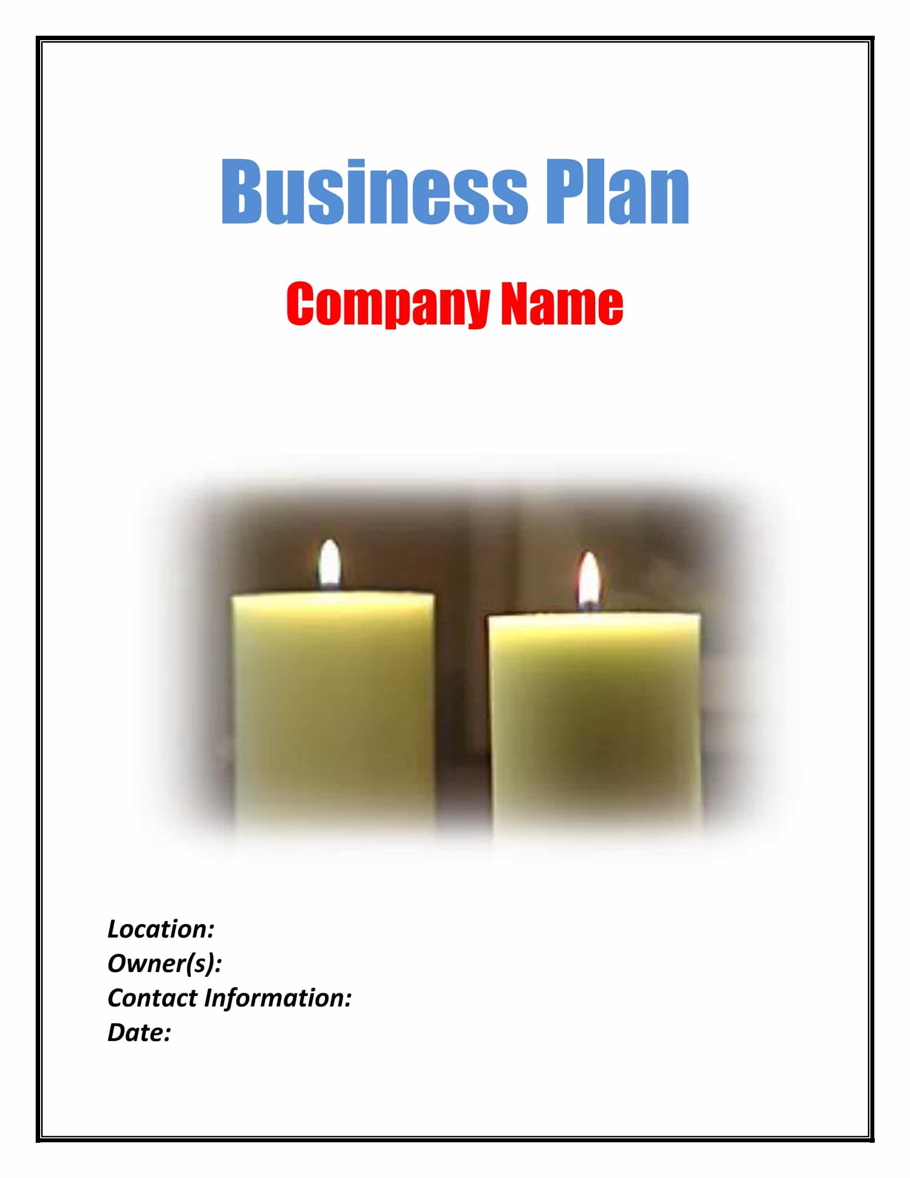 Candle Making Business Plan Template Sample Pages - Black