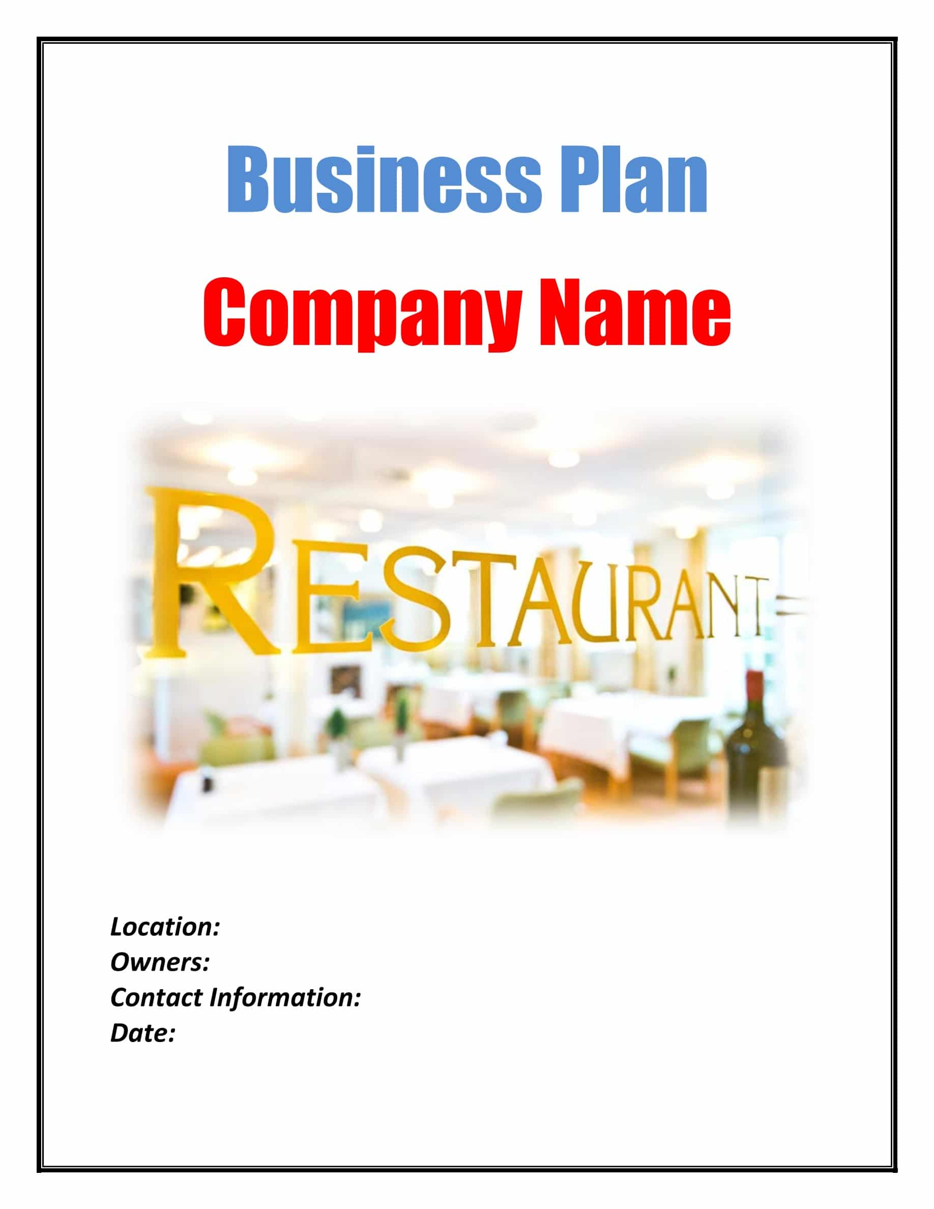 Restaurant Business Plan Template Sample Pages Black Box
