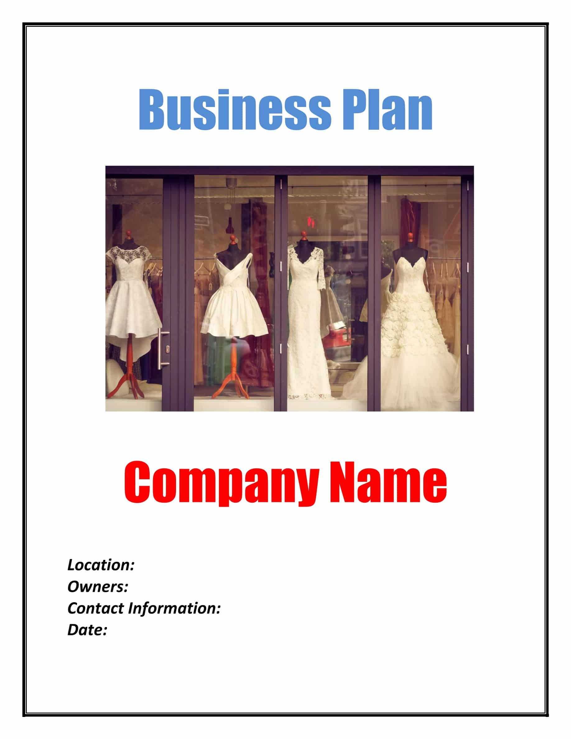 retail fashion store business plan template  physical