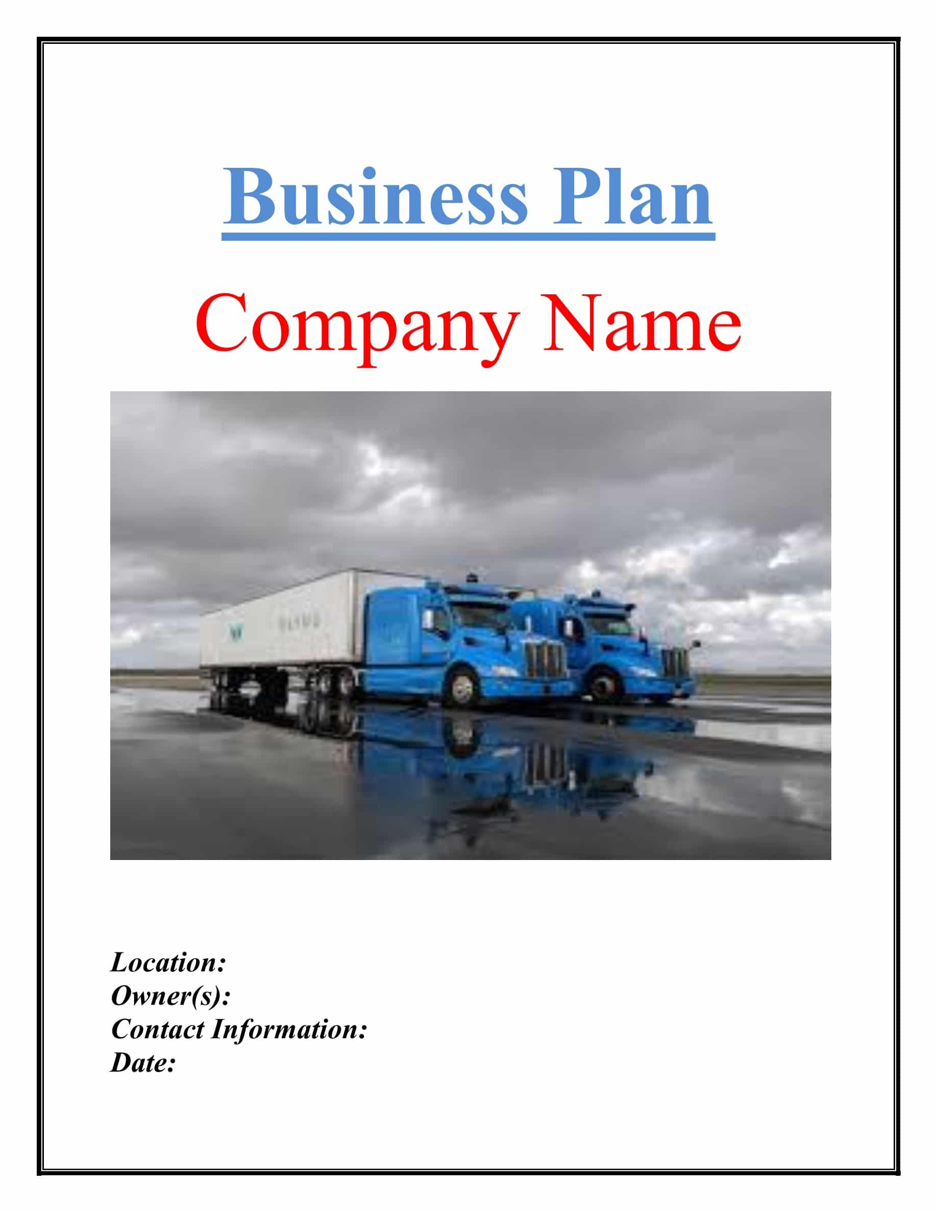 Trucking Transport Business Plan Template Sample Pages