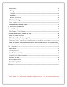 Water, Fire and Smoke Restoration Business Plan Template