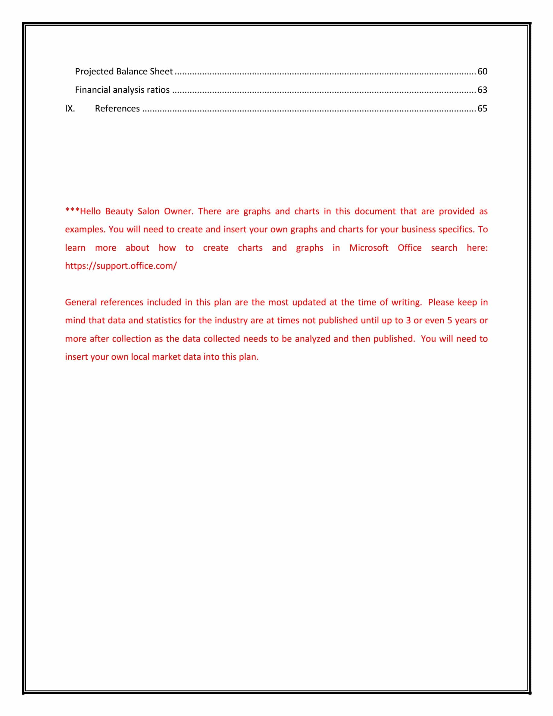 Hair Salon Business Plan Template | table of contents page 3 Beauty Salon Business Plan Template