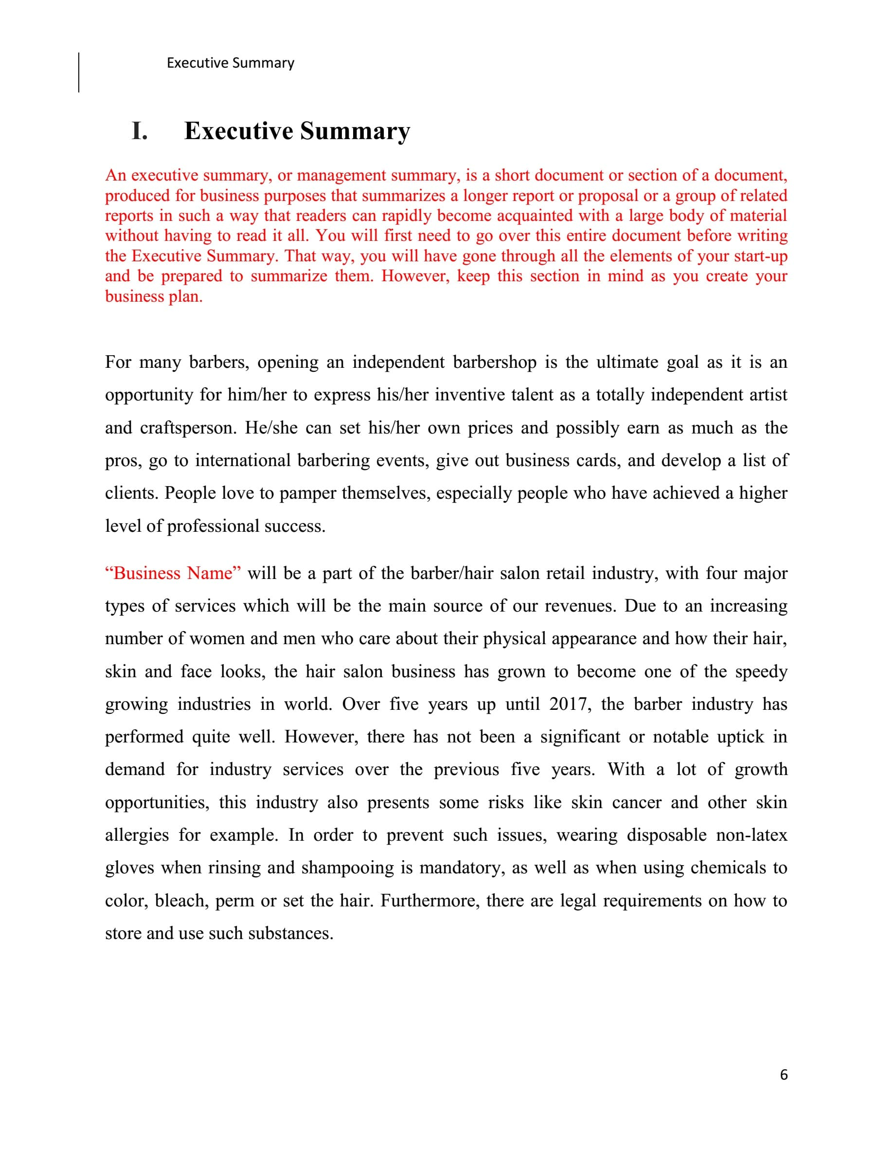 free business plan template for a barber shop