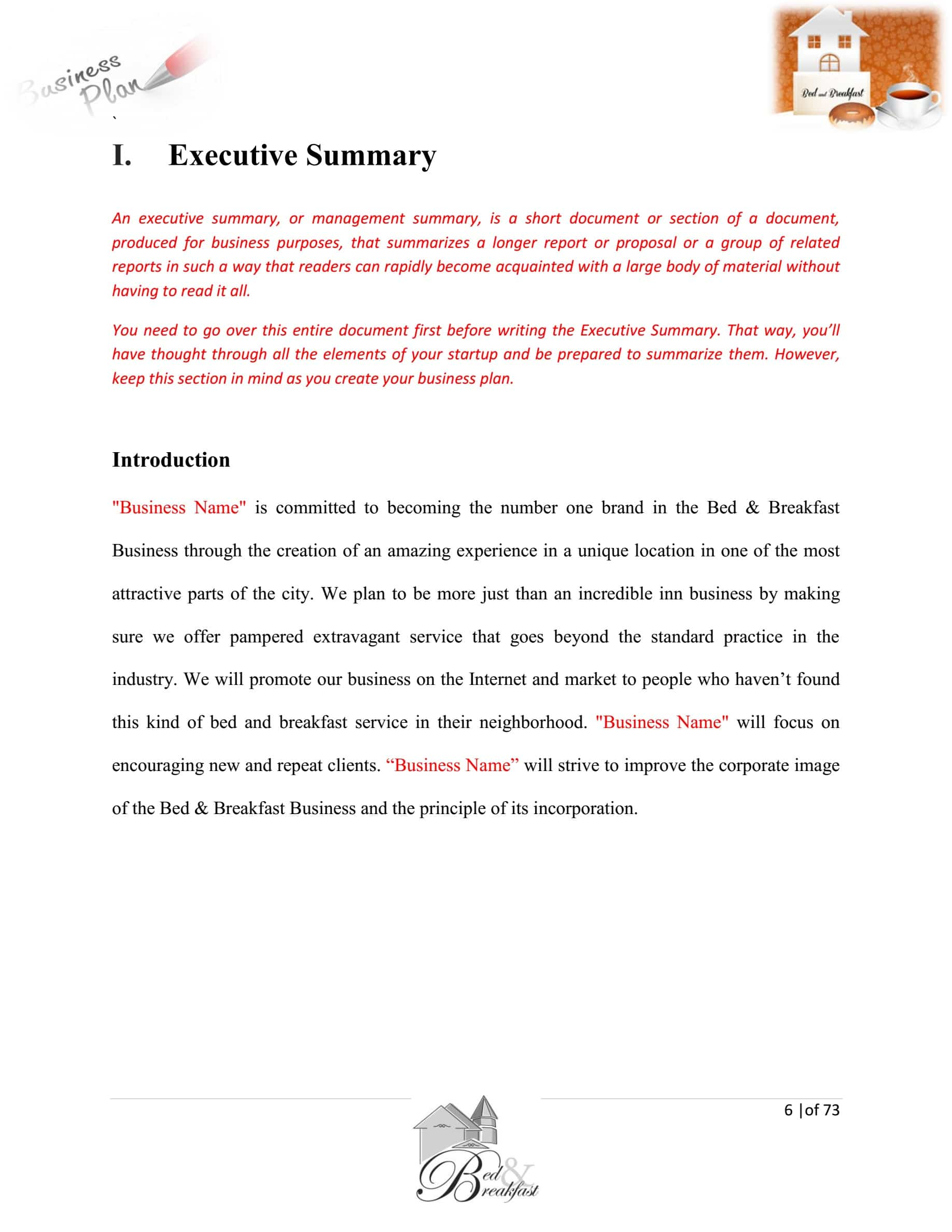 Bed And Breakfast Business Plan Template Sample Pages