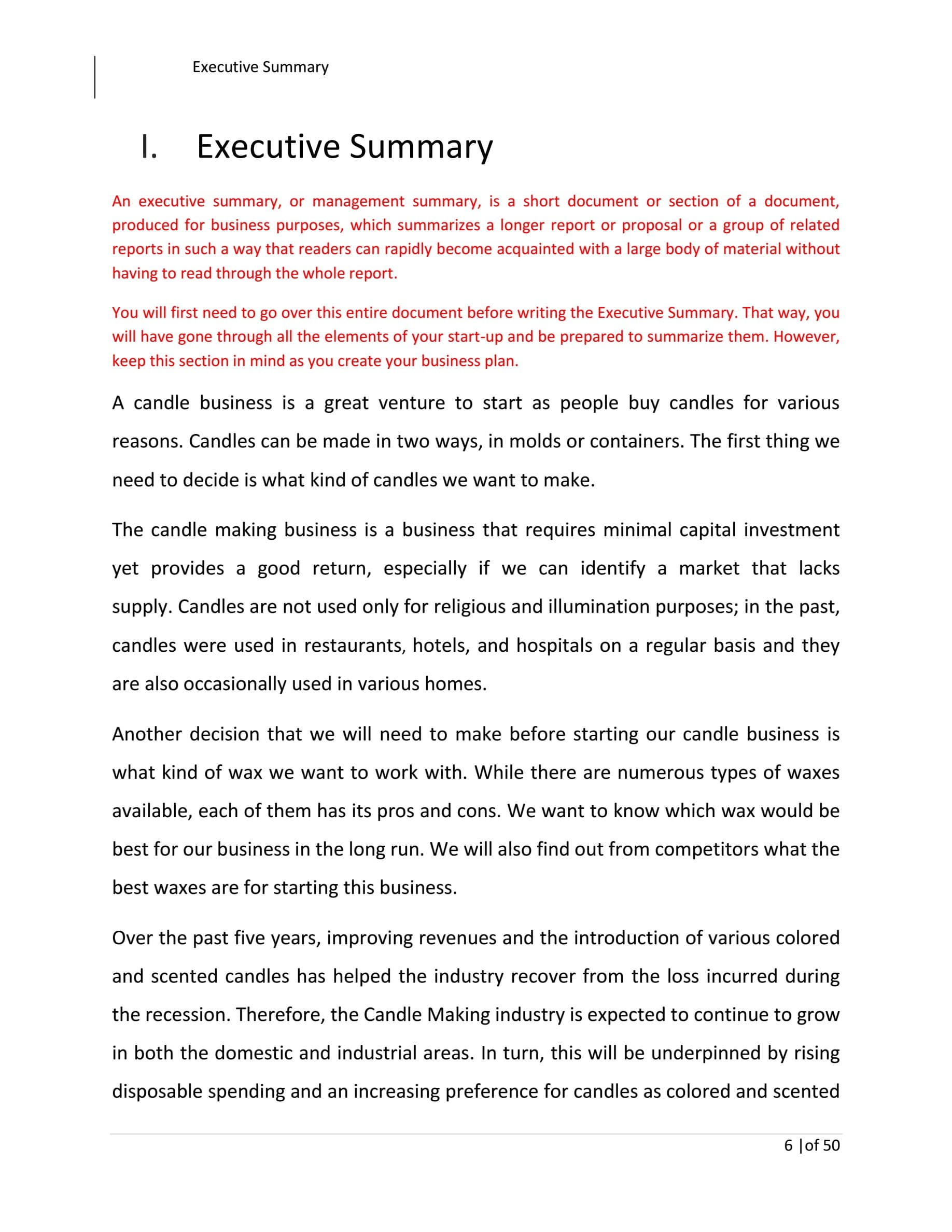 Candle Making Business Plan Template Sample Pages Black