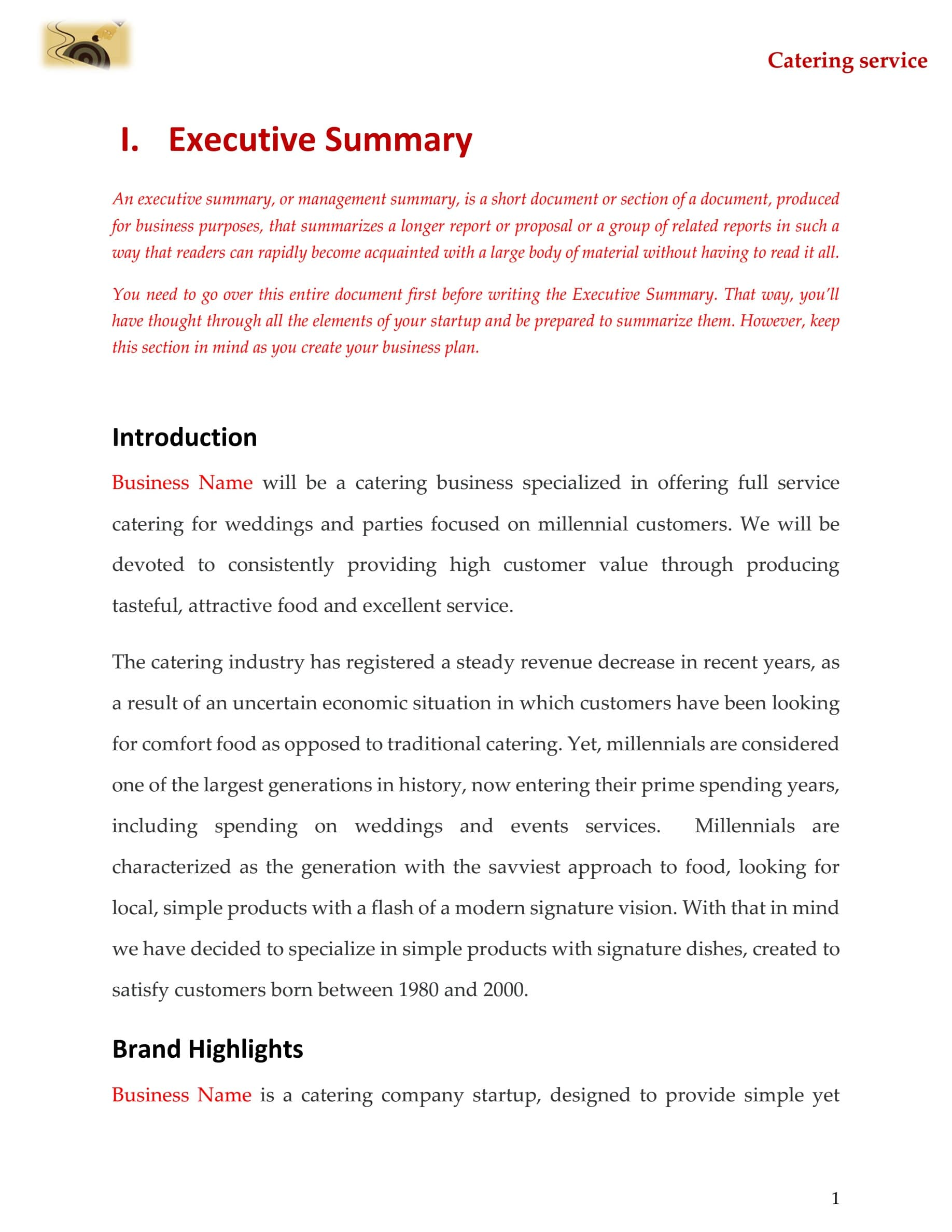 Catering business plan template sample pages black box business plans catering business plan template friedricerecipe Gallery