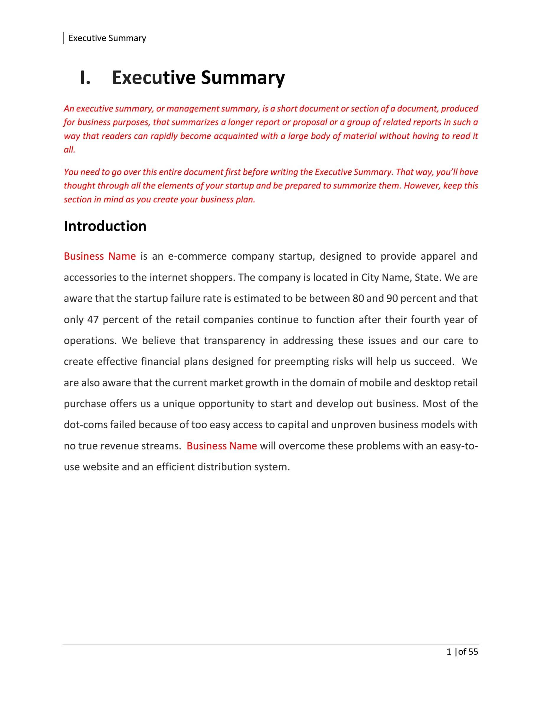 Online Fashion Boutique Business Plan Template Sample Pages - Black