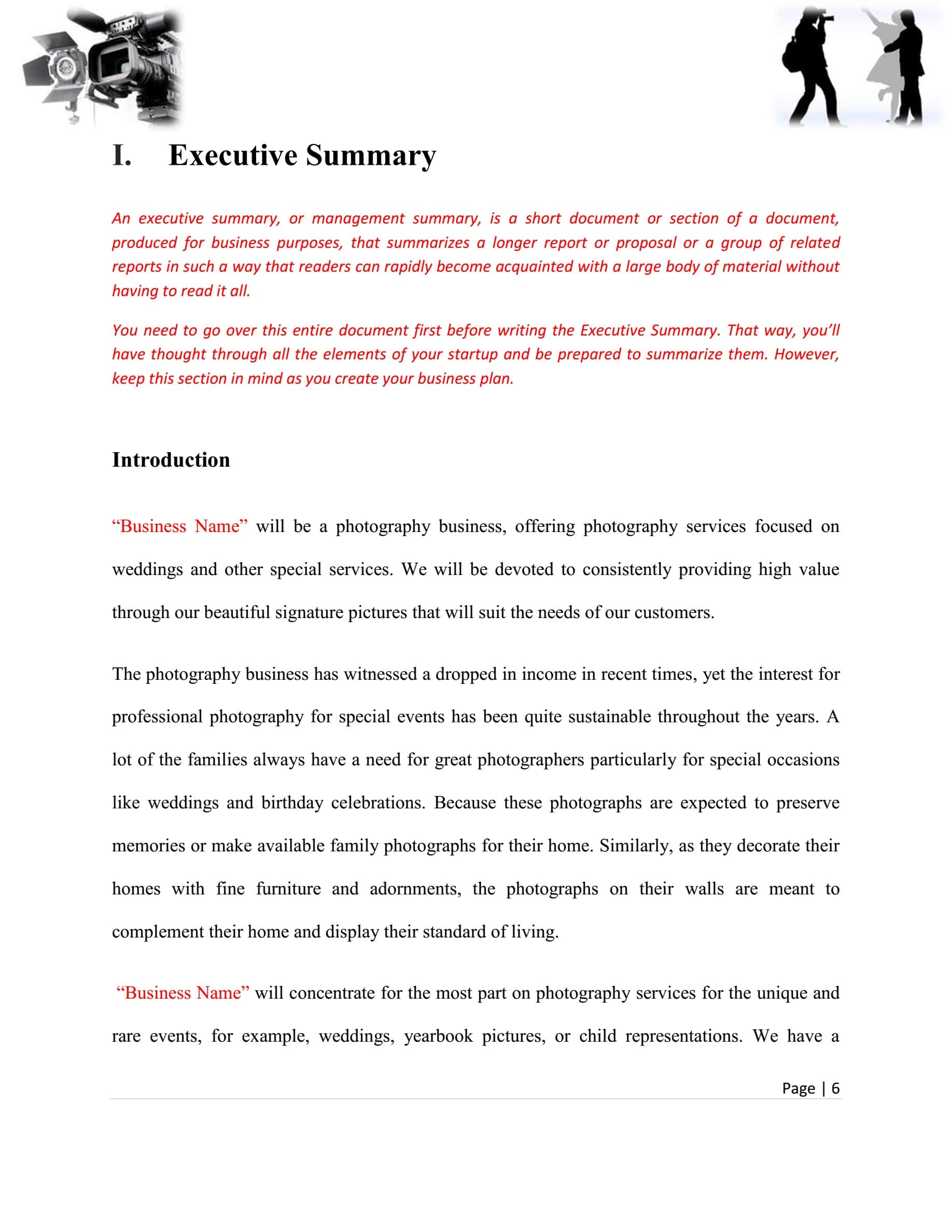 Photography Business Plan Template Sample Pages – Black Box ...