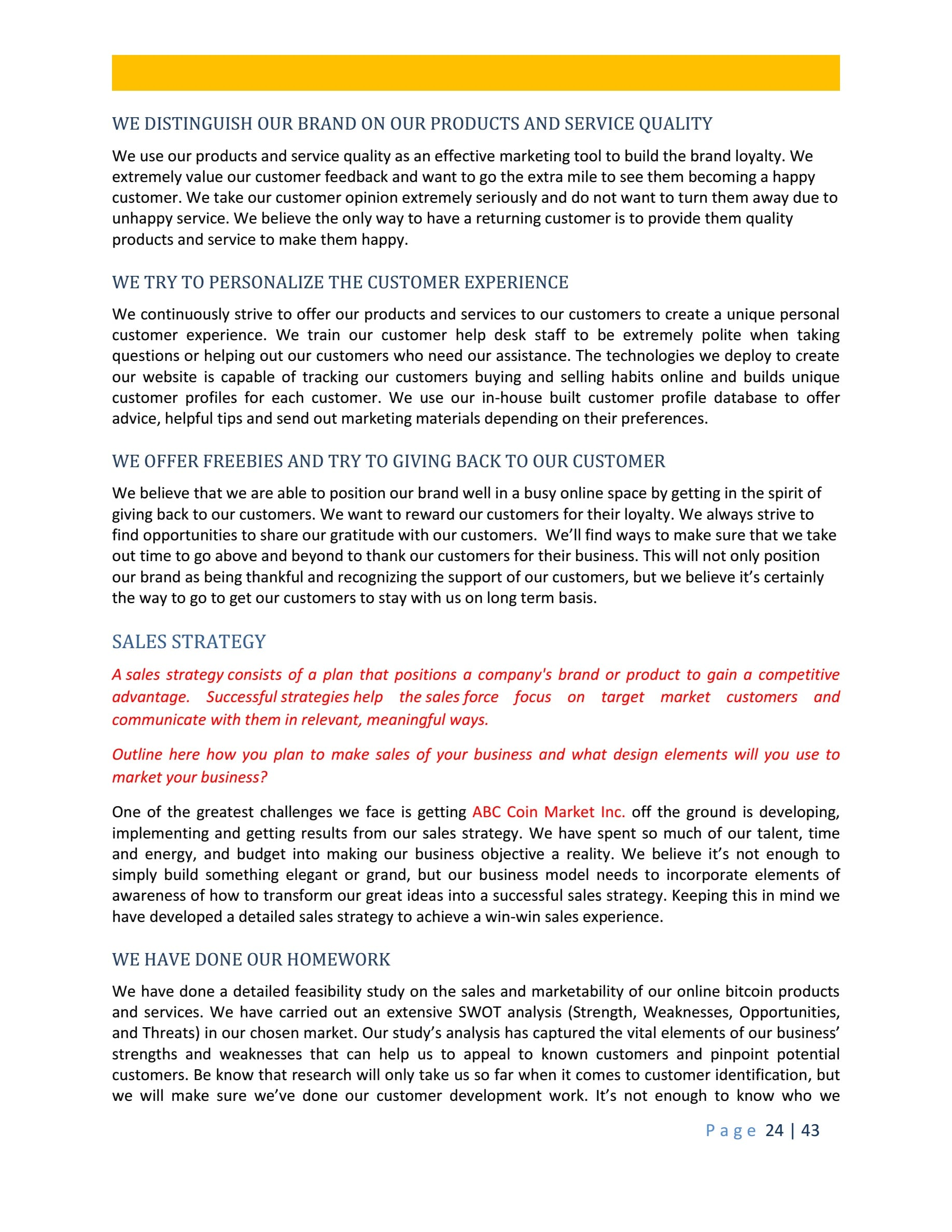 Bitcoin Business Plan Template Sample Pages - Black Box