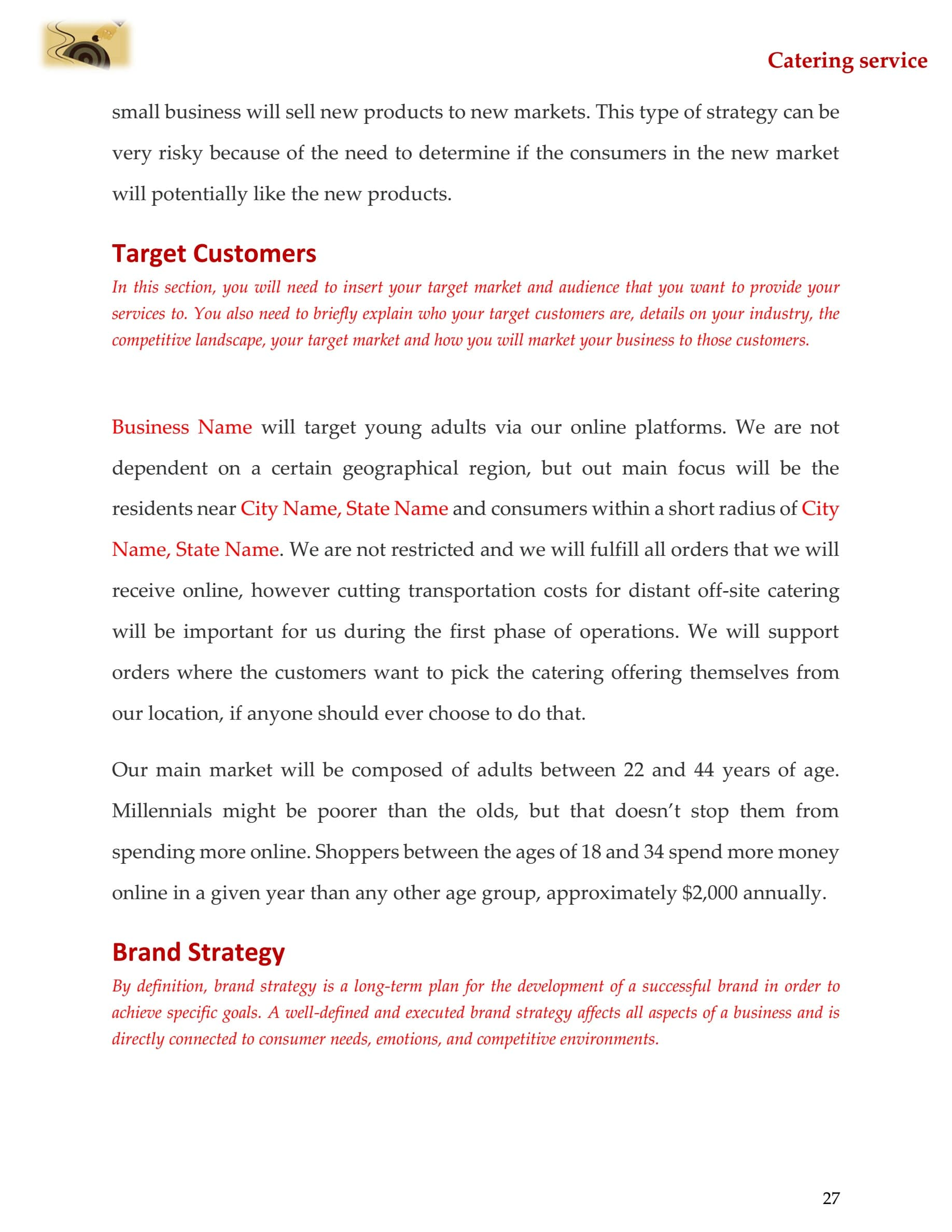 Catering business plan template sample pages black box business plans catering business plan template accmission Image collections
