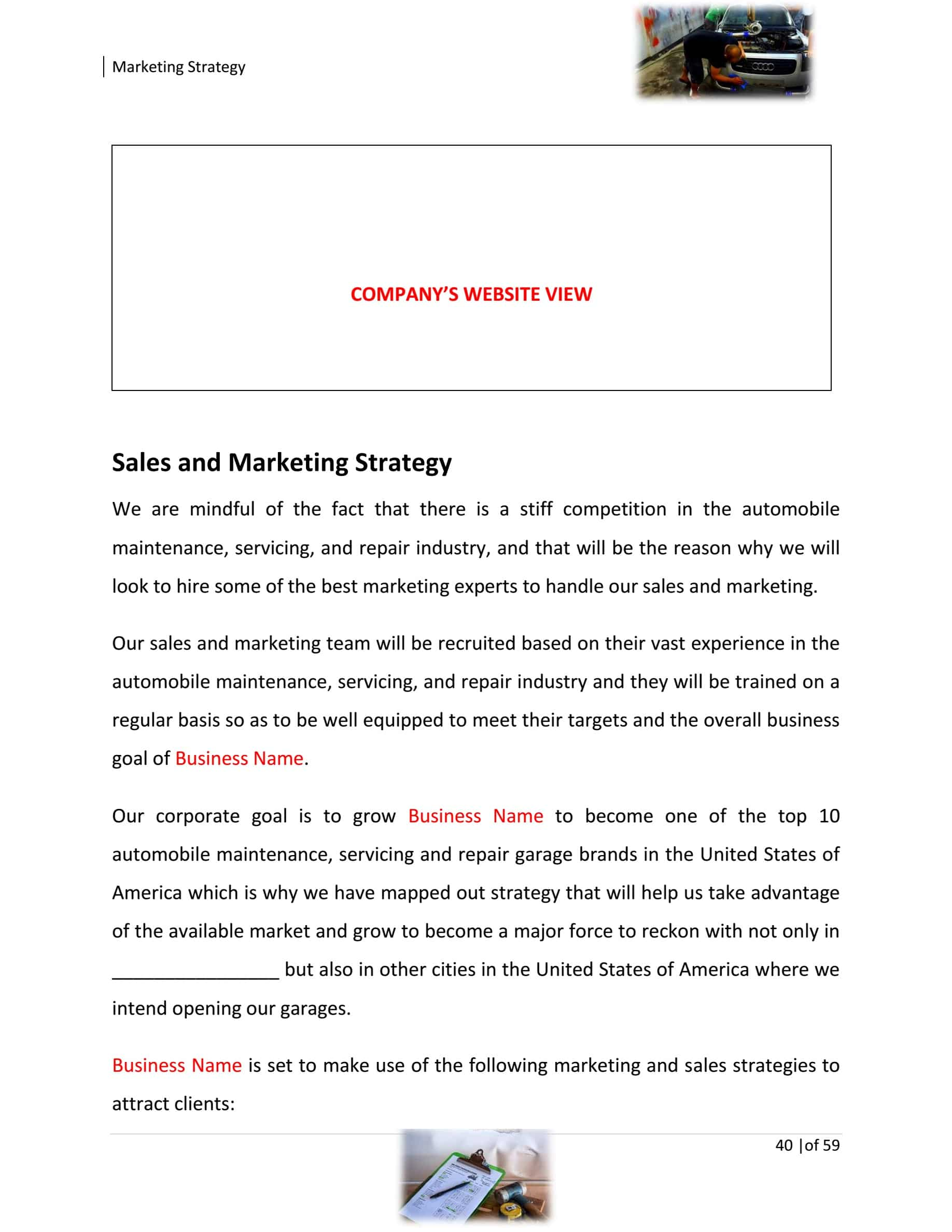 Auto Body Repair Business Plan Template