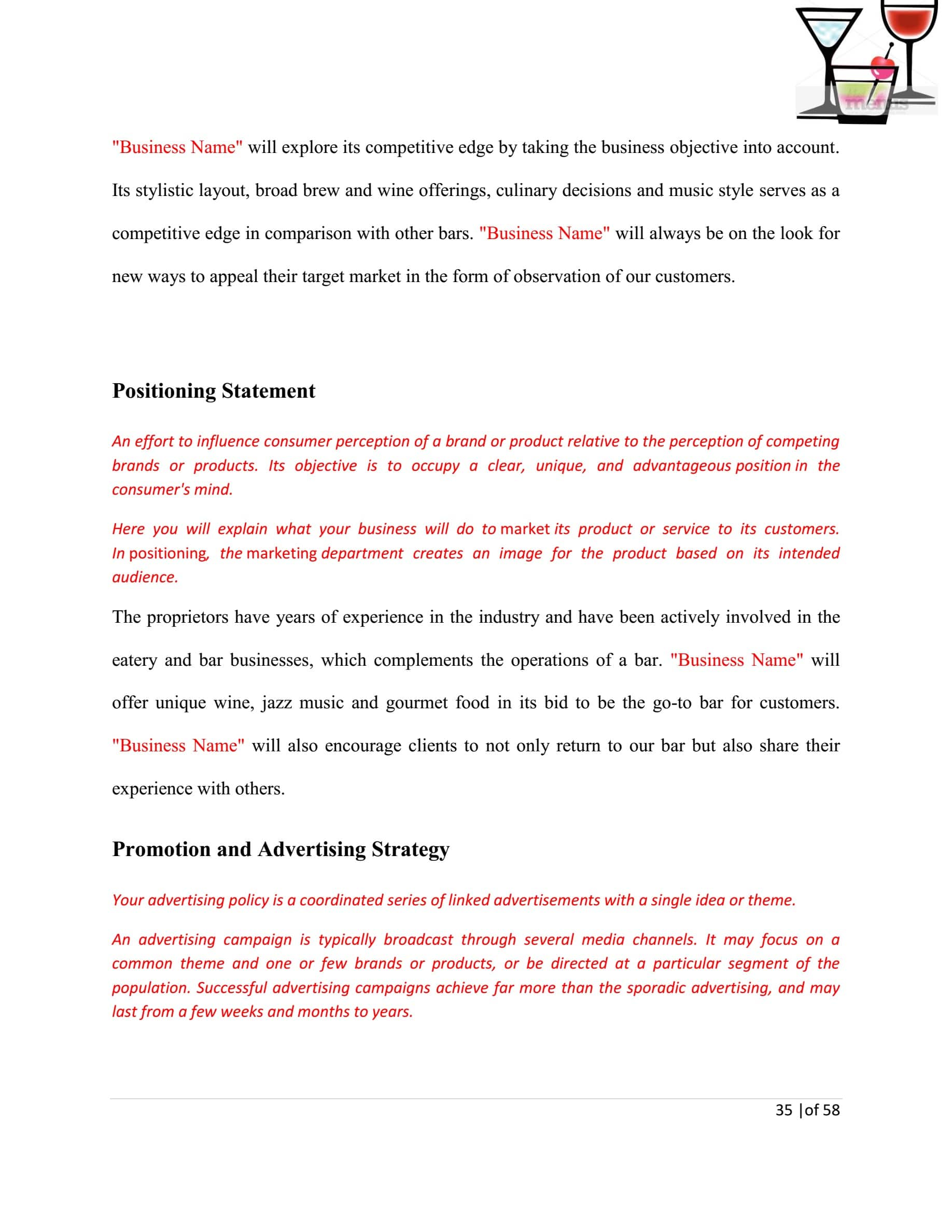15+ Bar Business Plan Examples in MS Word | PDF | Pages | Google Docs | Examples