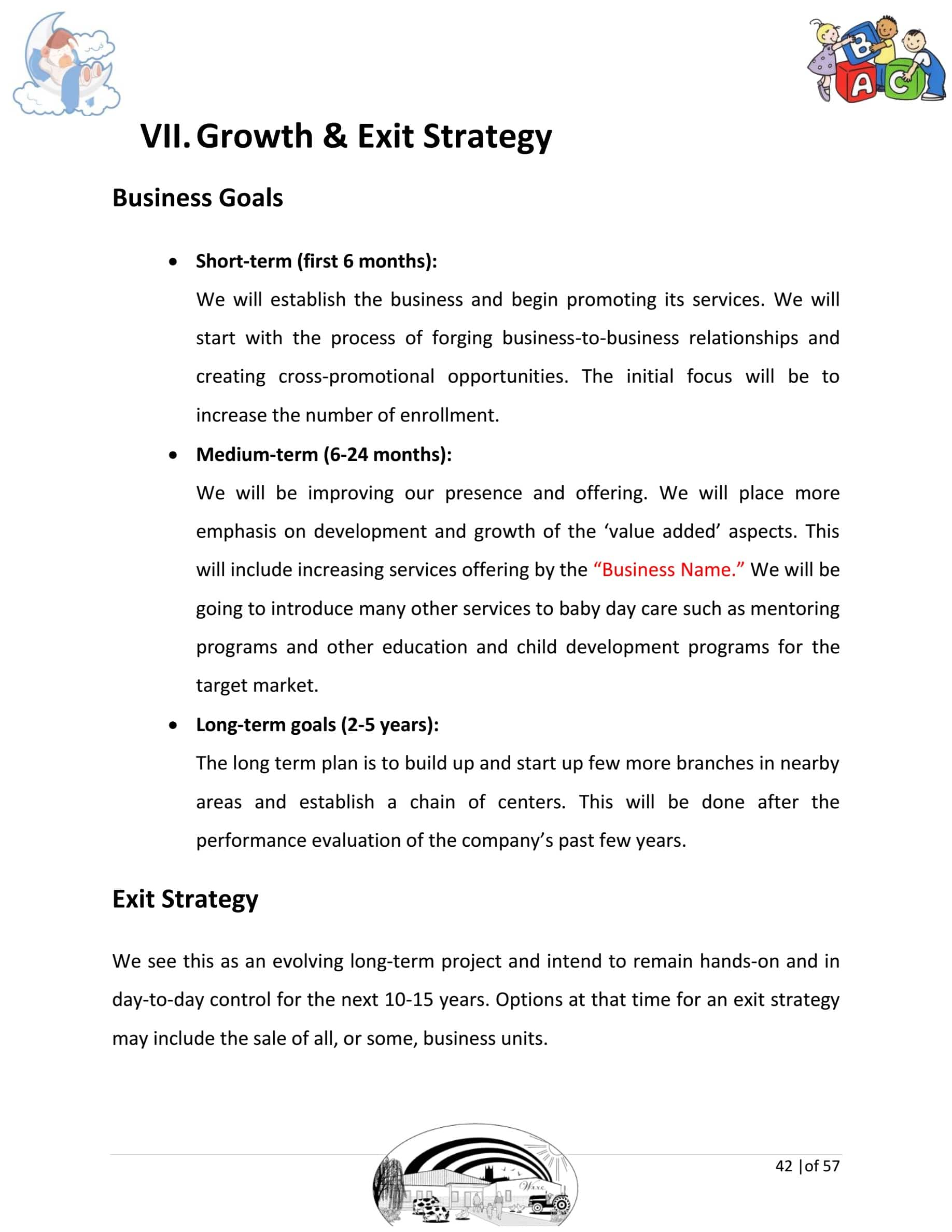 day care business plan template sample pages black box business plans