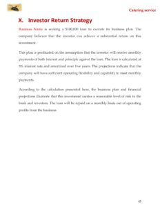 Catering Business Plan Template