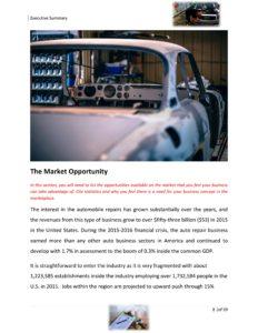 Auto Body Repair Business Plan Template