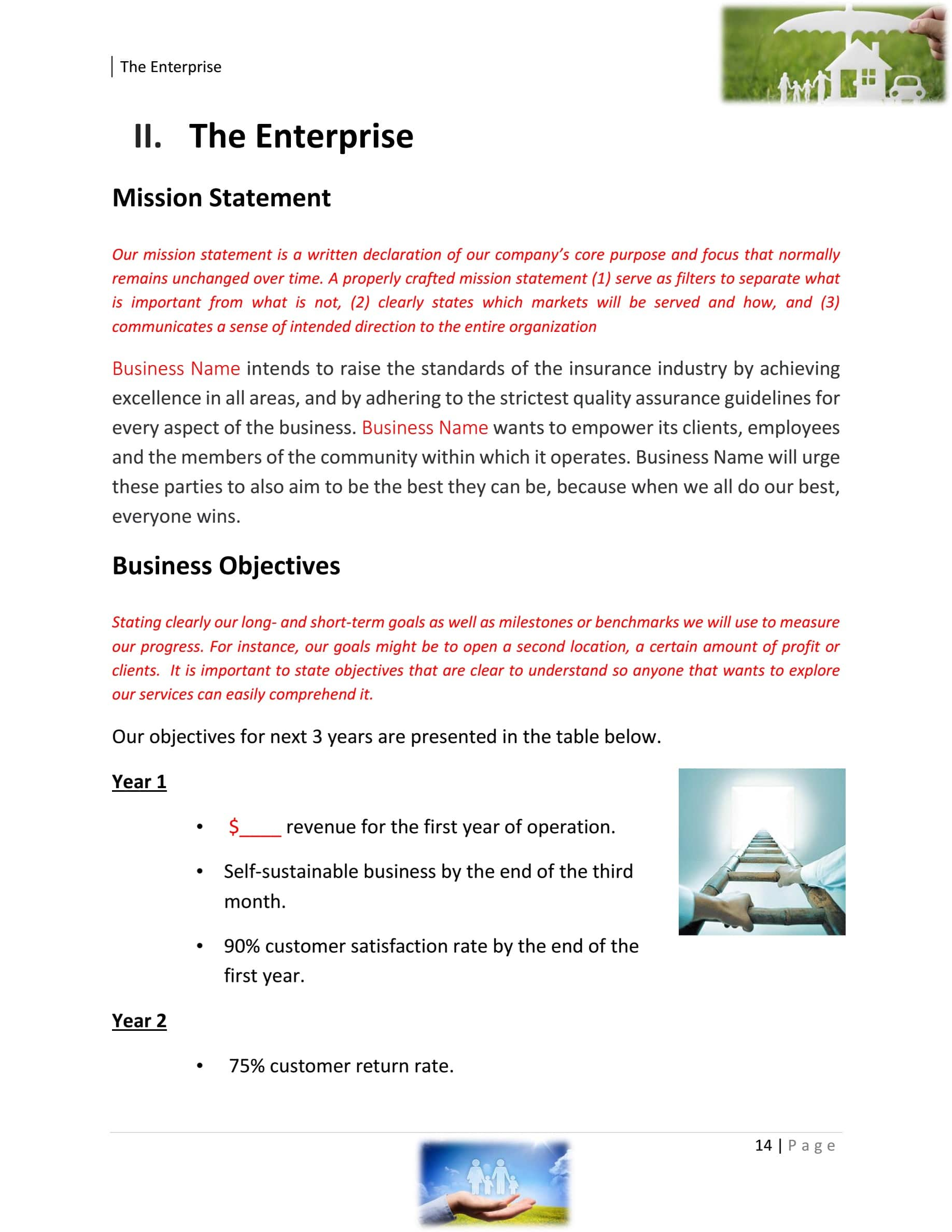 Insurance Agency Business Plan Template Sample Pages ...