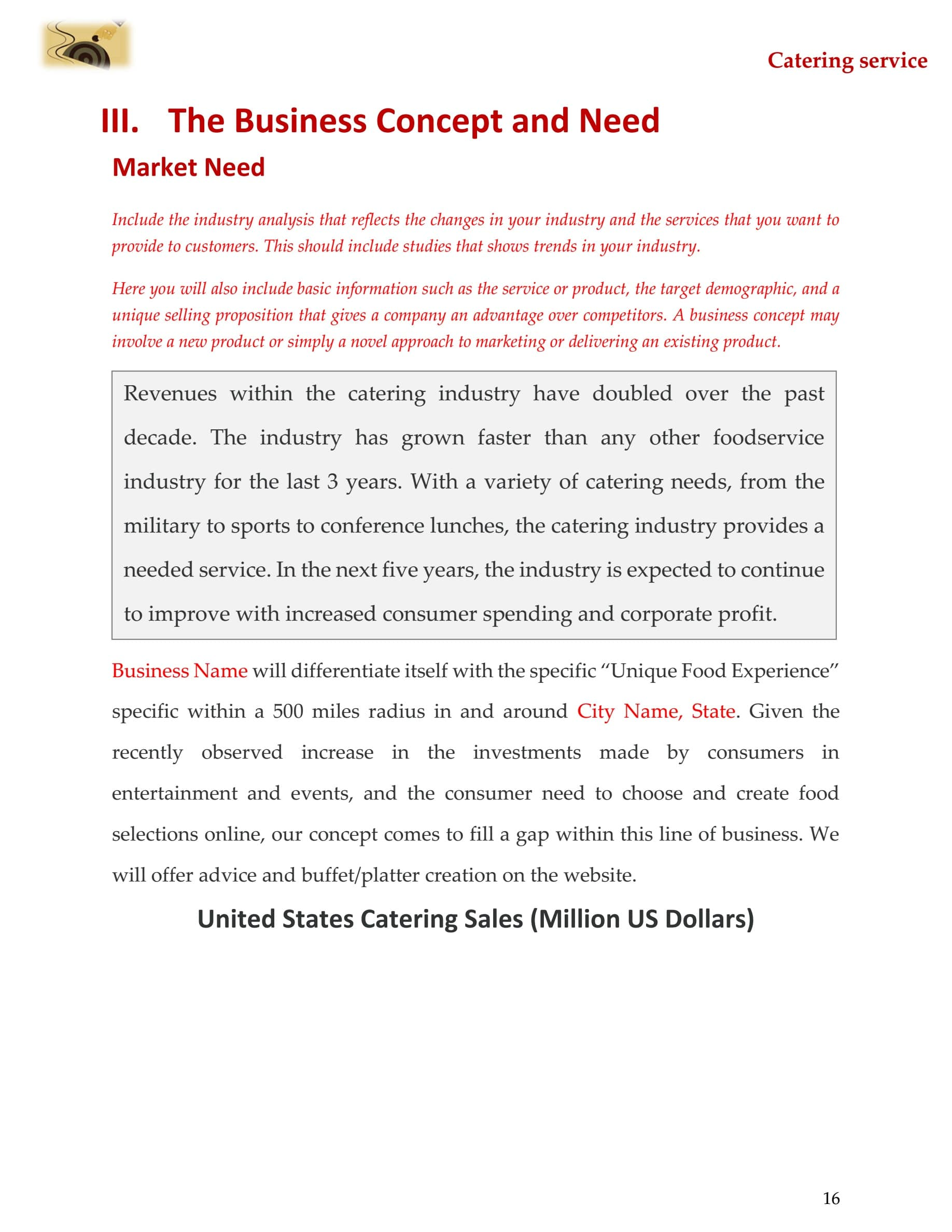 Catering Business Plan Template Sample Pages Black Box