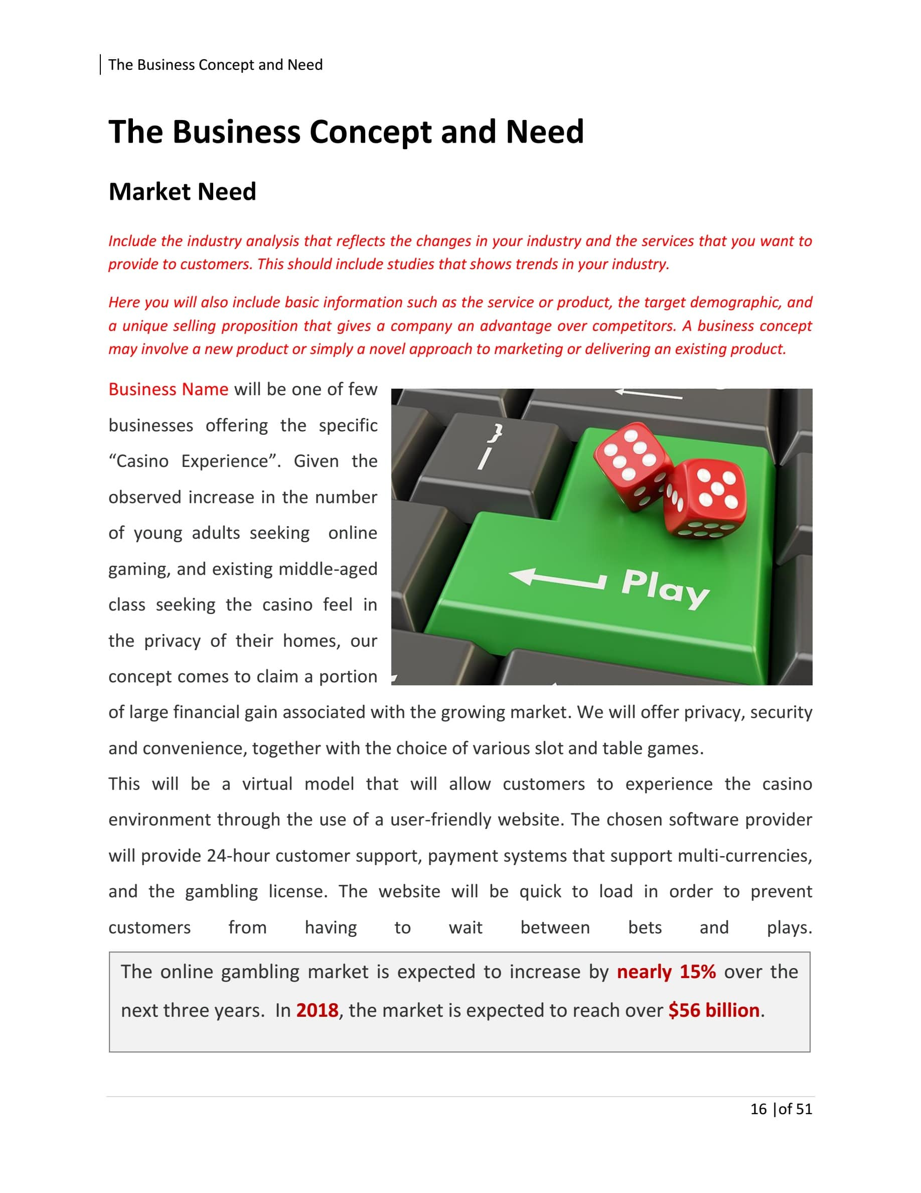 Online Gambling Business Plan Template Sample Pages - Black Box