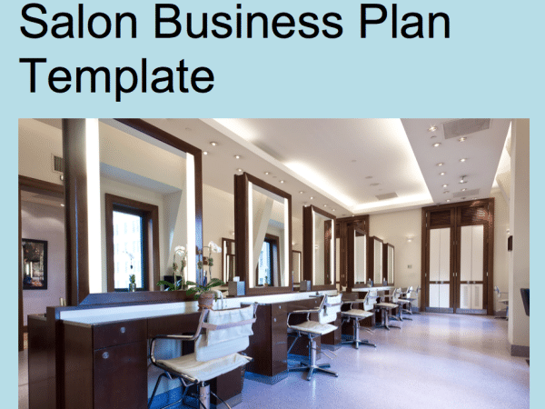 Salon business plan template cover