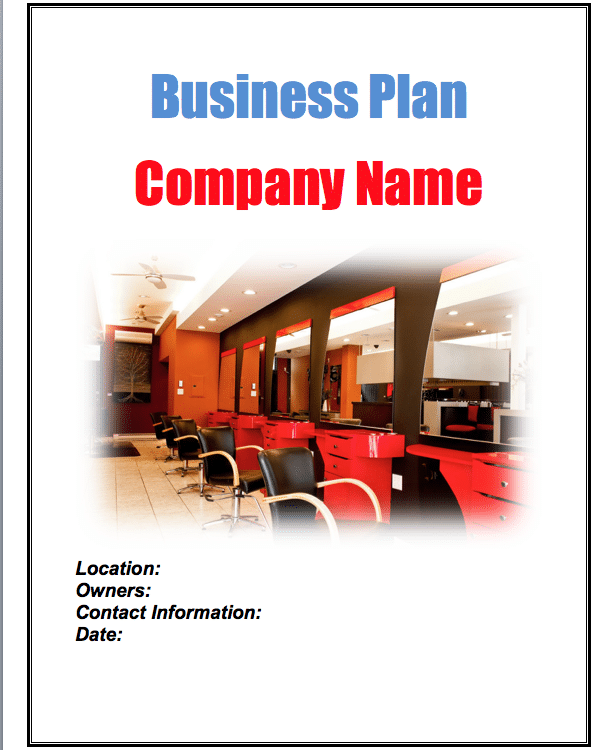 Salon business plan sample pages black box business plans for A salon business plan
