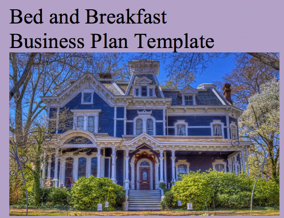 Bed and breakfast business plan template black box business plans accmission Image collections